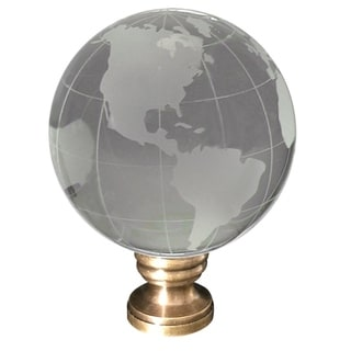 """Frosted Crystal Clear Globe Earth Lamp Finial Antiqued Brass Base 3""""h"""