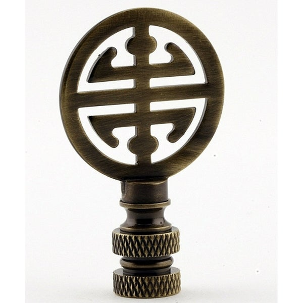 """Classic 4 Blessings Asian Lamp Finial Antique Brass Metal 2.25""""h"""
