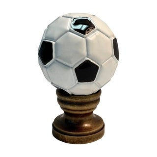 "Alloy Soccer Ball Lamp Finial Antiqued Brass Base 1.75""h"