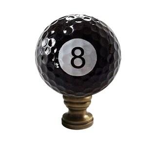 "8-Ball Billiard Lamp Finial, Black, 2.25""h"