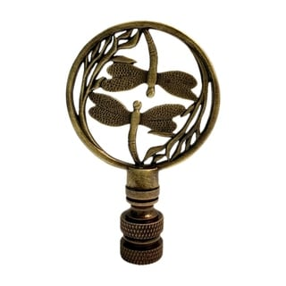 """Double Dragonfly Lamp Finial Antique Brass 2.8""""h"""