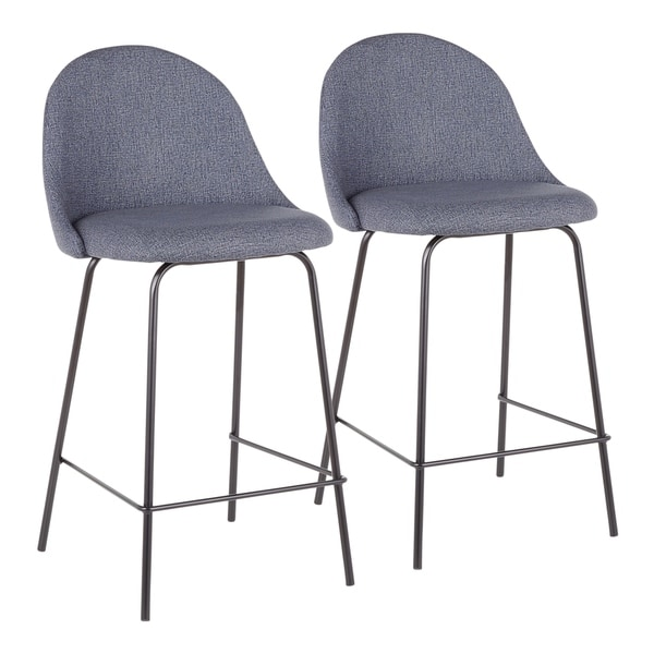 LumiSource Lana Contemporary Upholstered Counter Stool (Set of 2)