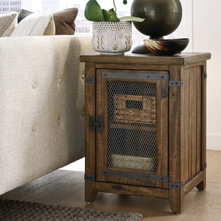 Carbon Loft Michael Pinewood and Metal Chairside End Table