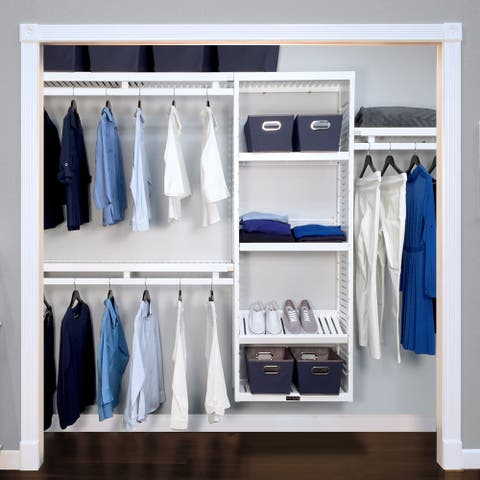 John Louis Home 12in Deep Solid Wood Simplicity Organizer White