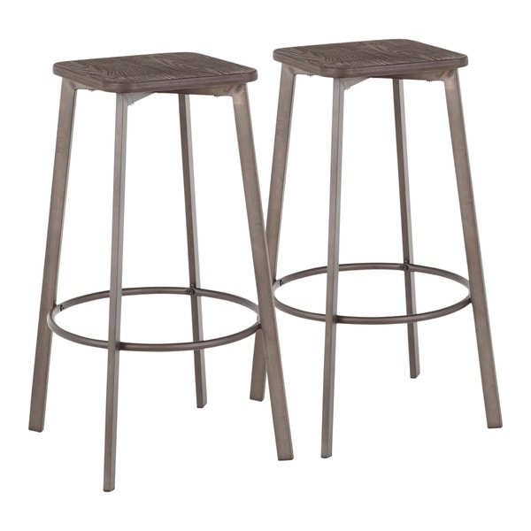 Carbon Loft Barton Backless Square Industrial Bar Stools (Set of 2). Opens flyout.