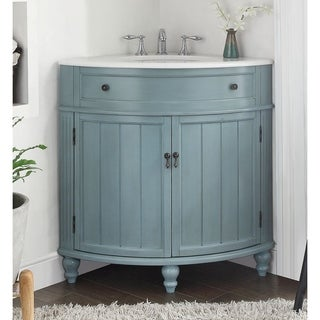 "24"" Benton Collection Thomasville Blue Corner Bathroom Sink Vanity"