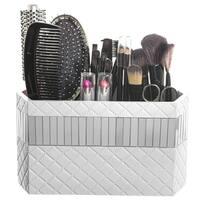 Quilted Mirror Bathroom Organizer Hair Accessories Makeup Brush Holder