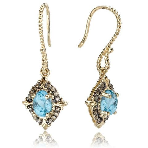Avanti Yellow Gold Plated Sterling Silver Blue Topaz Earrings