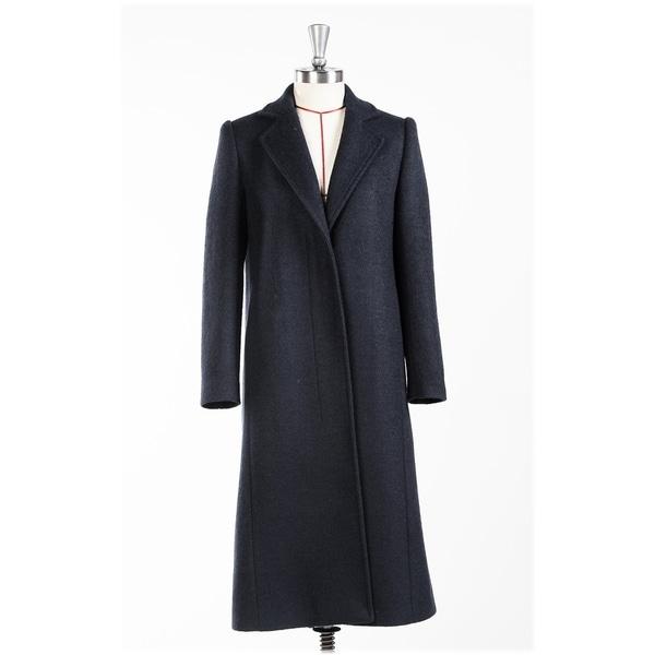 Women's Black Classic Notched Lapel Wool Coat