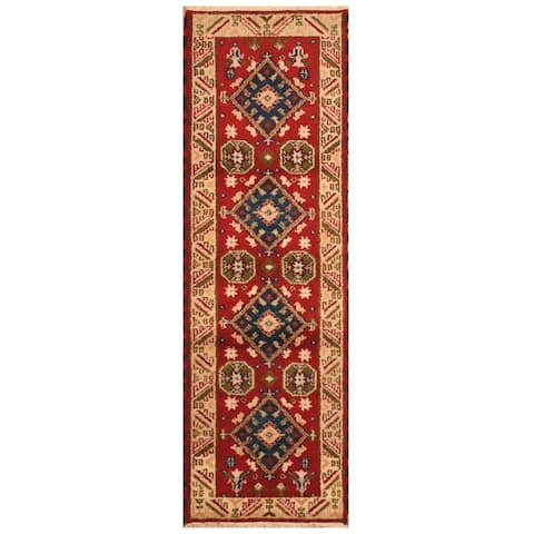 Handmade One-of-a-Kind Kazak Wool Rug (India) - 18' Runner