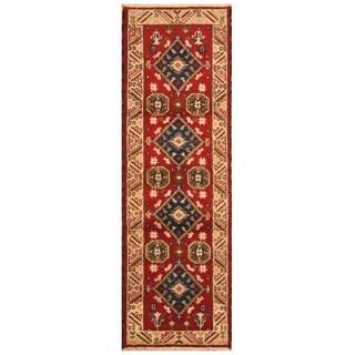 Handmade Kazak Wool Rug (India) - 2'1 x 6'7
