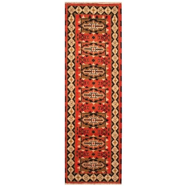 Handmade Kazak Wool Rug (India) - 2' x 6'6