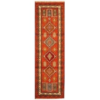 Handmade Kazak Wool Rug (India) - 2' x 6'7