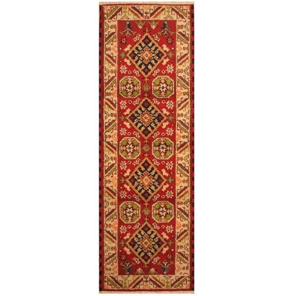 Handmade Kazak Wool Rug (India) - 2'2 x 6'7