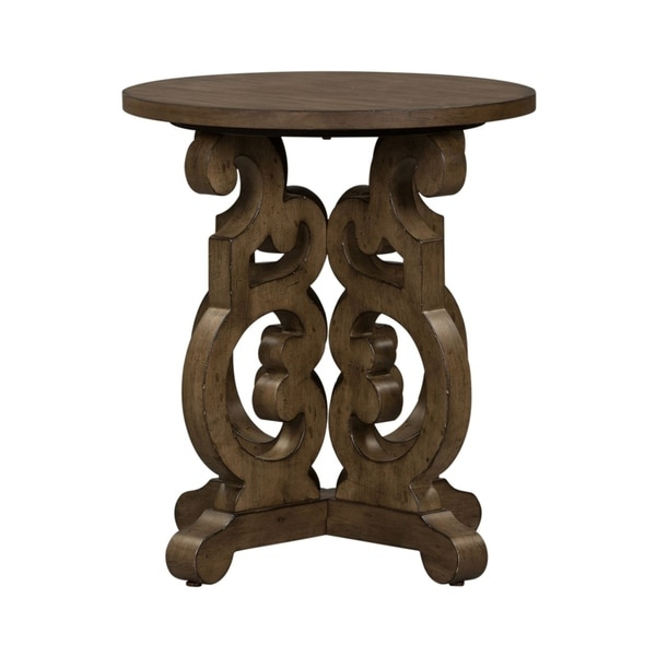 The Gray Barn Flying Hooves Heathered Brownstone Round End Table