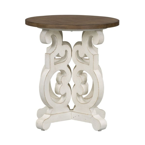 The Gray Barn Flying Hooves Brown and White Paint Round End Table