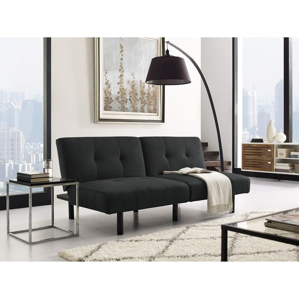 Shop Serta Houston Black Microfiber Convertible Sofa