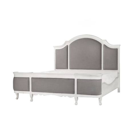 Emerald Home Distressed Antique White Upholstered Bed