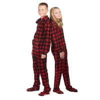 Hoodie Footed Onesie Buffalo Plaid Fleece Footed Pajamas for Boys & Girls