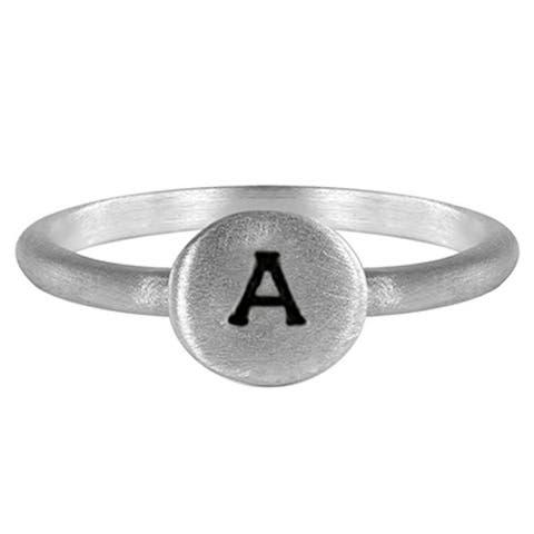 TwoBirch Sterling Silver Round Hand stamped Signet Ring
