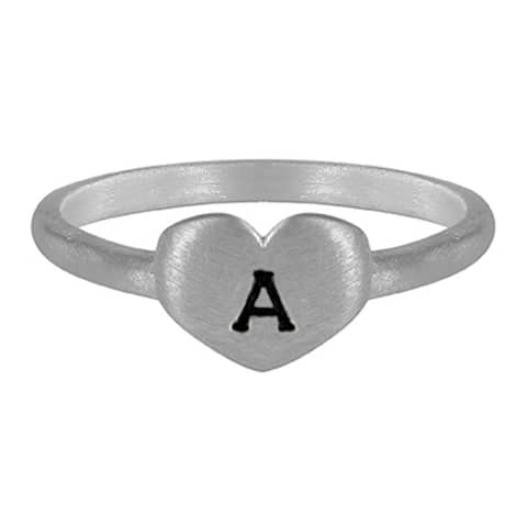 TwoBirch Sterling Silver Hand stamped Heart Initial Ring