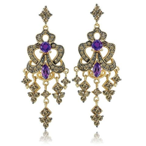 Avanti Yellow Gold Plated Sterling Silver Amethyst and CZ Earrings
