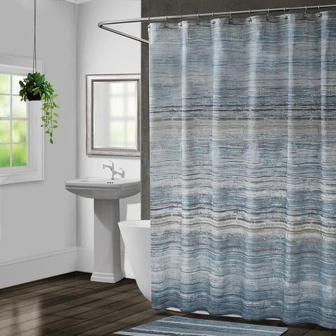 Croscill Nomad Blue Stripe Shower Curtain