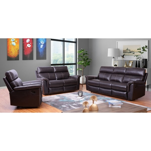 Abbyson Wellington Brown Top Grain Leather Reclining 3 Piece Living Room Set