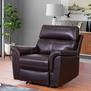 Abbyson Wellington Brown Top Grain Leather Recliner Armchair