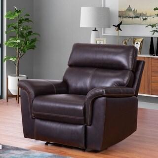 Abbyson Wellington Brown Top Grain Leather Recliner Armchair
