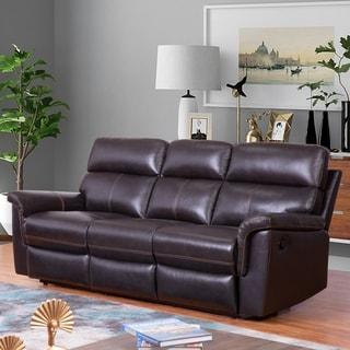 Abbyson Wellington Brown Top Grain Leather Reclining Sofa