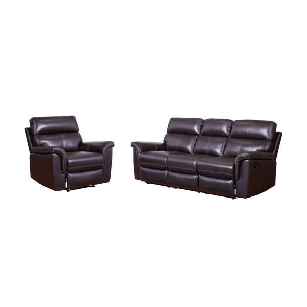 Marvelous Shop Abbyson Wellington Top Grain Leather Brown Sofa And Machost Co Dining Chair Design Ideas Machostcouk