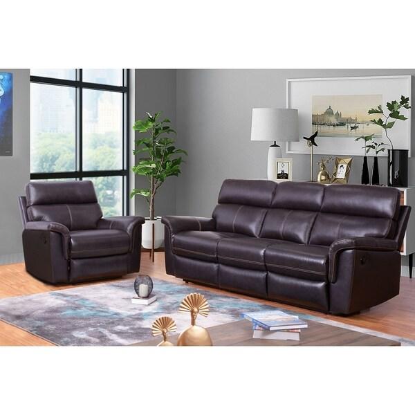Abbyson Wellington Top Grain Leather Brown Sofa and Armchair Recliner Set