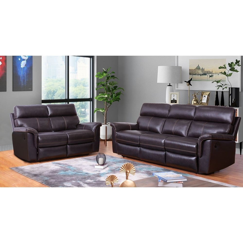 Abbyson Wellington Brown Top Grain Leather Reclining Sofa and Loveseat Set (2 Piece)