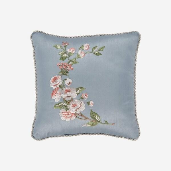 """Croscill Carlotta 16"""" Floral Embroidered Fashion Pillow"""