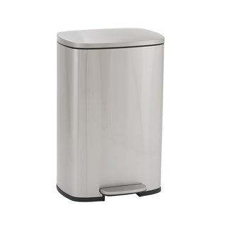 Design Trend Rectangular Stainless Steel Step Trash Can Bin w/Soft Close Lid, 50 Liter/13 Gallon, Silver