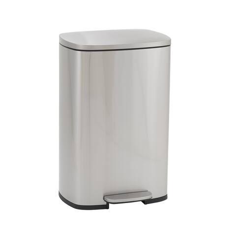 Design Trend Rectangular Stainless Steel Step Trash Can Bin w/Soft Close Lid, 50 Liter/13 Gallon, Silver