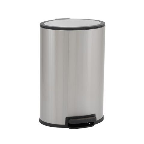 Design Trend Oval Stainless Steel Step Trash Can Bin w/Soft Close Lid, 40 Liter/10.5 Gallon, Silver