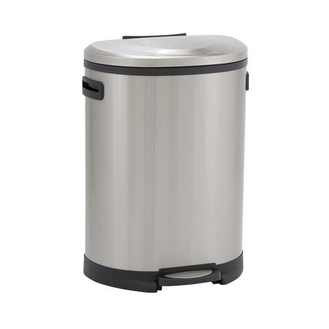 Design Trend Oval Stainless Steel Step Trash Can Bin w/Soft Close Lid & Handles, 50 Liter/13 Gallon, Silver