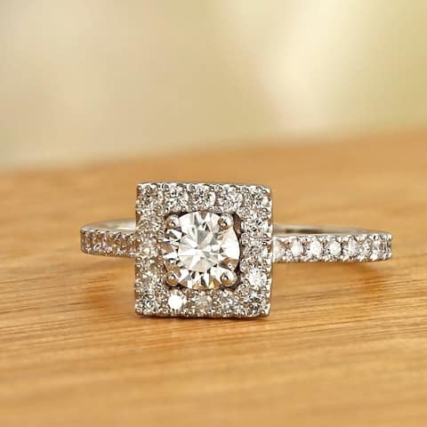Ethical Sparkle 1ctw Square Halo Lab Grown Diamond Engagement Ring 14k Gold