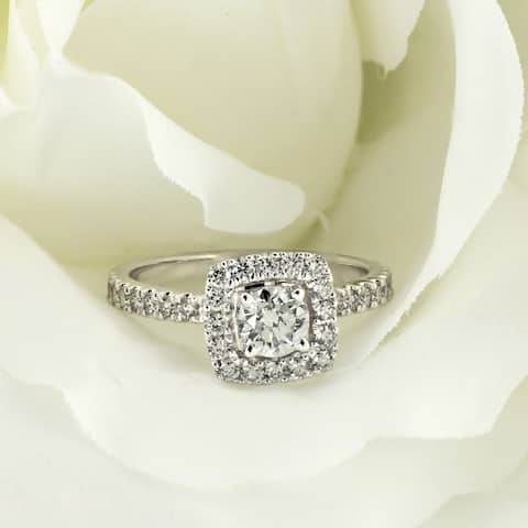 Ethical Sparkle 1ctw Cushion Halo Lab Grown Diamond Engagement Ring 14k Gold