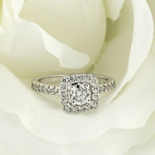 14k Gold 1ct TDW Lab Grown Diamond Halo Engagement Ring by Ethical Sparkle