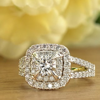 Ethical Sparkle 1 1/2ctw Cushion Halo Lab Grown Diamond Engagement Ring 14k Gold