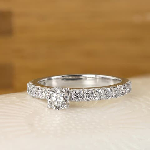 Ethical Sparkle 1 carat TW Classic Lab Grown Diamond Engagement Ring 14k Gold