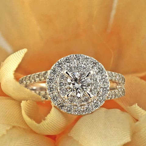 Ethical Sparkle 1 1/4ctw Round Halo Lab Grown Diamond Engagement Ring 14k Gold