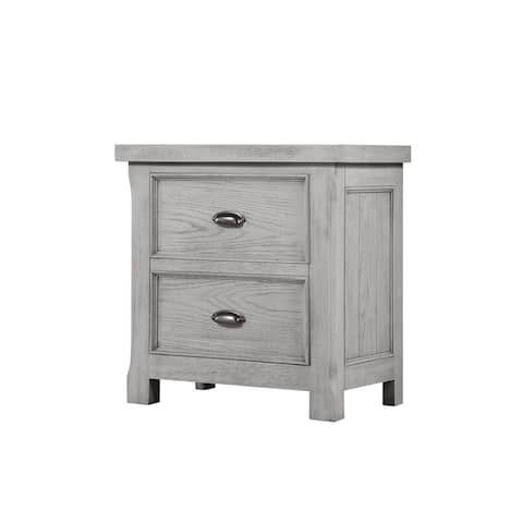 The Gray Barn Davis Park Light Grey and Aged Brass Nightstand