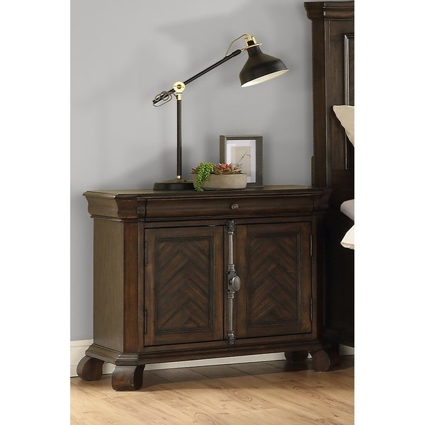 Emerald Home Knoll Hill Walnut Brown and Dark Bronze Nightstand with Pieced Chevron Door Panels And French Casement Hardware,