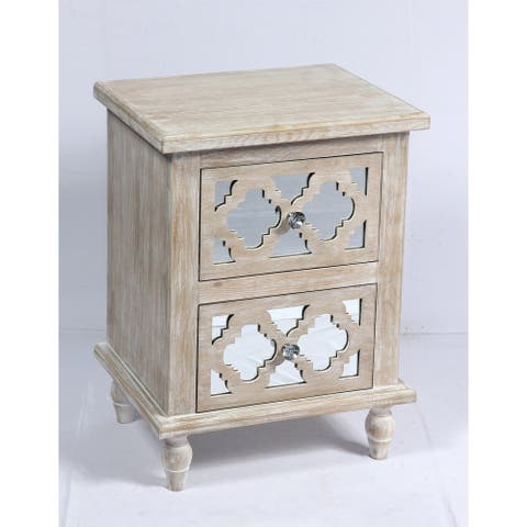 The Curated Nomad Rockridge Whitewashed Wood and Mirror Nightstand
