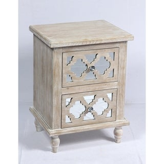 Emerald Home Canterwood Whitewash and Mirror Nightstand with Lattice Detailing And Hardworking Storage And Organization,