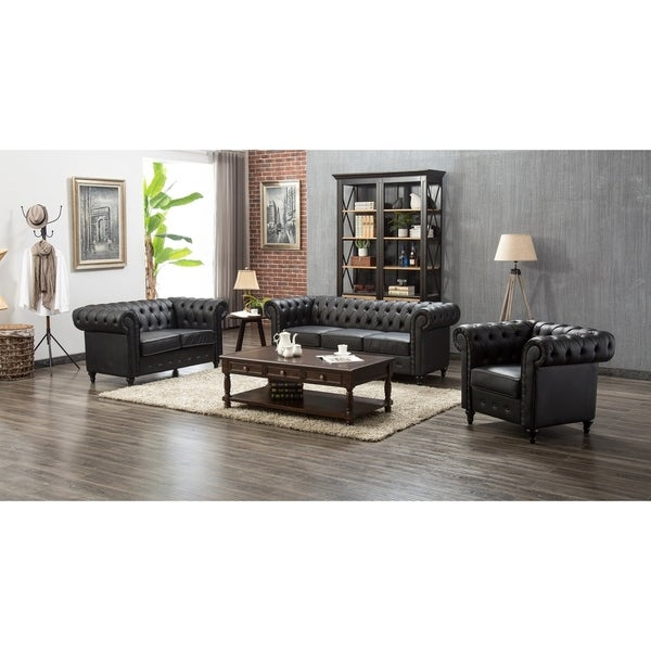 Shop Teressa Chesterfield Black Upholstered 3 Piece Living Room Set